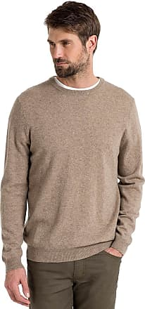 WoolOvers Mens Cashmere and Merino Crew Neck Knitted Jumper Pepper, L