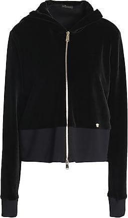 d6ad64d50779 Versace Versace Woman Cotton-blend Velvet Hooded Sweatshirt Black Size 42