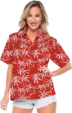 La Leela Beach Shirts for Women Cover up Plus Size Blood Red_AA195 L - UK Size : 20-22