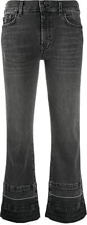 7 For All Mankind Calça jeans flare com lavagem estonada - Preto