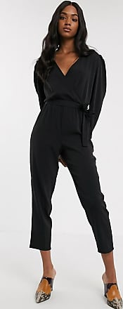Y.A.S wrap jumpsuit with gathered sleeves in black