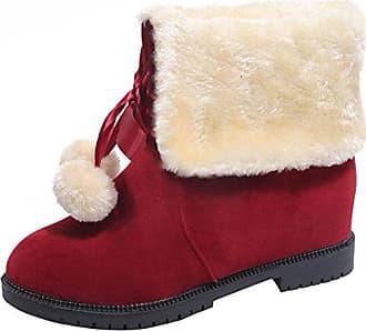 2de3ce41b05ffb Aiyoumei Damen Winter Flach Schneestiefel mit Schleife und Fell Gefüttert  Warm Stiefeletten