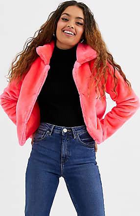 Brave Soul Petite Rome - Kurz geschnittene, neonfarbene Jacke aus Kunstpelz-Rosa