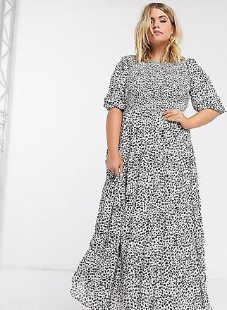 Asos Curve ASOS DESIGN Curve shirred tiered maxi dress in mono spot print-Multi