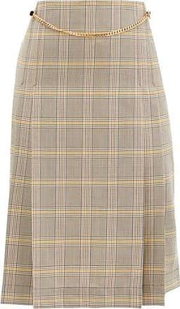 Victoria Beckham Jupe taille haute en laine plissée à carreaux