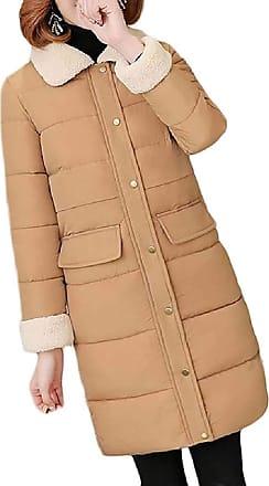 VITryst Womens Lapel Solid Wool Coat Winter Casual Warm Slim Knee Length Thick Long Sleeve Jacket,Khaki,X-Large