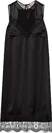 N°21 Kleid mit Spitzenbesatz - SCHWARZ