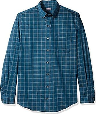 Van Heusen Mens Size Big and Tall Wrinkle Free Poplin Long Sleeve Button Down Shirt, Turquoise Seabed Plaid, 4X-Large