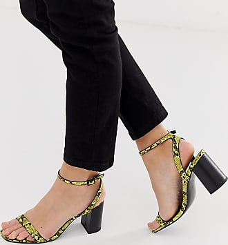 Asos Hong Kong barely there block heeled sandals in yellow snake - Multi