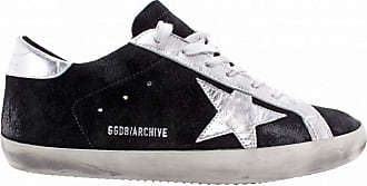 Golden Goose Womens Sneakers Archive Suede Black Silver Italy