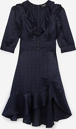 The Kooples Navy blue jacquard short frilly dress - WOMEN