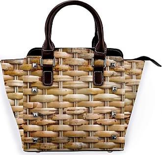 Browncin Woven Wicker Basket Detachable Fashion Trend Ladies Handbag Shoulder Bag Messenger Bags