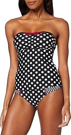 Pour Moi? Womens Sea Breeze Strapless Underwired Tankini Top, Black/White/Purple, 38DD