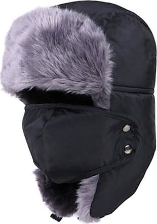 iClosam Unisex Warm Winter Trapper Trooper Hat Mens Classic Winter Faux Fur Bomber Hats with Ear Flap and Windproof Mask Snow Ski Outdoor Sport Hat Hunting Av