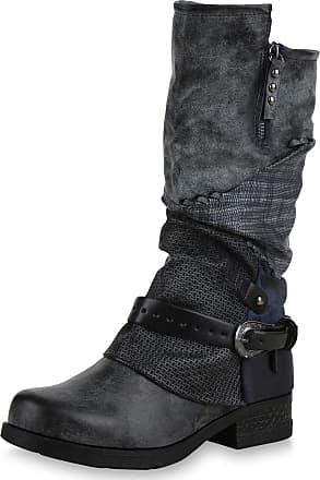Scarpe Vita Women Biker Boots Lightly Lined Zipper Prints 173187 Dark Blue UK 7 EU 41