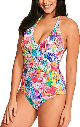 Figleaves Womens Sophia Frill Halter Swimsuit Size 12 in Multicoloured