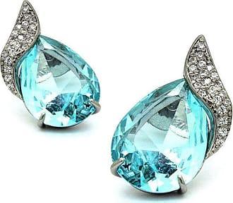 Royalz Brinco Royalz Semi Joia Rodio Negro Cristal Yasmin Azul