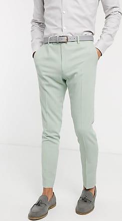 Asos wedding skinny suit trousers in crosshatch in mint green