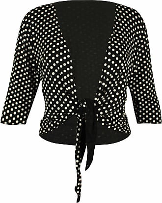 Purple Hanger Womens New Polka Dot Spotted Print Ladies Three Quarter 3/4 Sleeve Front Tie Shrug Cropped Bolero Cardigan Top Plus Size Black Size 22 -24