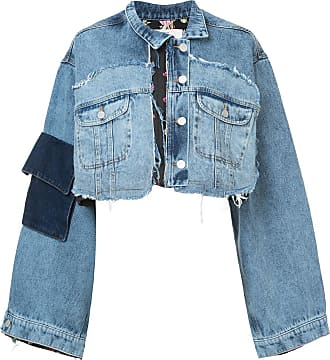Natasha Zinko mixed crop denim jacket - Di colore blu