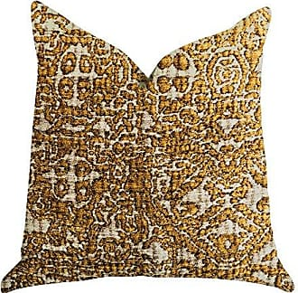 Plutus Brands Cosmo Textured Double Sided Luxury Throw Pillow 20 x 20 Gold/Beige