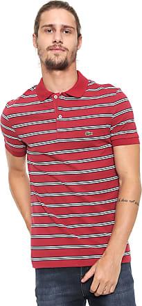 9959b84c9ff Lacoste Camisa Polo Lacoste Reta Listras Vermelha