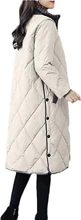 VITryst Womens Long Sleeve Stand Collar Pocket Zipper Down Winter Warm Jacket Coat Outwear,Apricot,XX-Large