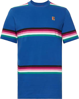 check out 46afb 56ec0 Nike Nikecourt Striped Cotton-jersey Tennis T-shirt - Blue