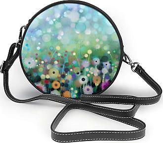 Turfed Botany Scenery Print Fashion Round PU Crossbody Handbag Round Shoulder Bag For Women Girls