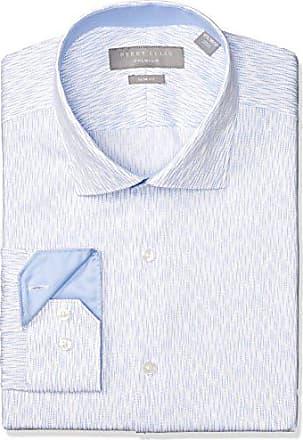 Perry Ellis Mens Slim Fit Non-Iron Cotton Dress Shirt, Medium Blue 17 32/33