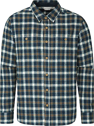 Mountain Warehouse Lumberjack Mens Flannel Shirt - Long Sleeve T-Shirt, Buttoned Polo Shirt, Lightweight, Easy Care Top - for Walking, Travelling Navy 3XL