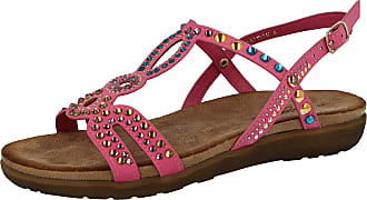 Cushion-Walk Ladies Open Toe Beaded T Bar Flat Sling Back Gladiator Sandals Size 3-8 (UK 5/EU 38, Pink)