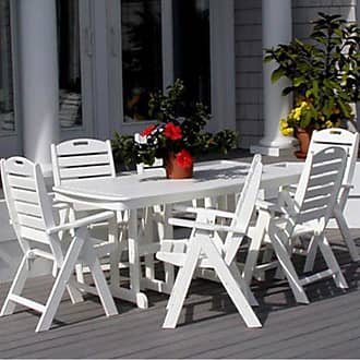 POLYWOOD Outdoor POLYWOOD Cape Cod Nautical Recycled Plastic Dining Set - Seats up to 8, Patio Furniture - PW065-1
