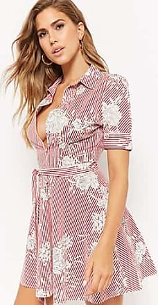 Forever 21 Forever 21 Striped Floral Shirt Dress Red