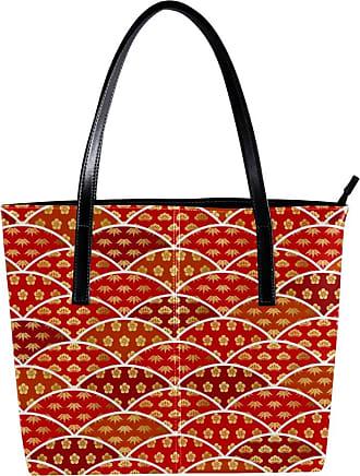 Nananma Womens Bag Shoulder Tote handbag with Japanese Gold Fans Pattern Print Zipper Purse PU Leather Top-handle Zip Bags