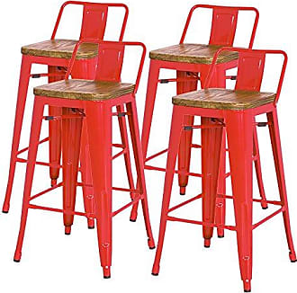 New Pacific Direct Metropolis Metal Low Back Counter Stool 26 Wood Seat,Indoor/Outdoor Ready,Red,Set of 4