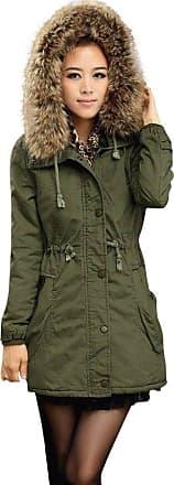 FNKDOR GNYD Winter Coats for Women Parka Waterproof with Collar Puffer Thick Warm Jackets Green Black Khaki Ladies Womens Jacket Hooded Winter Long Coat Size