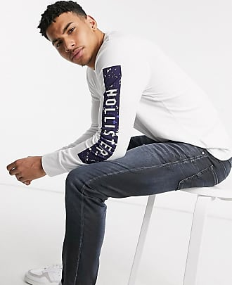 Hollister large scale tech logo long sleeve top in white