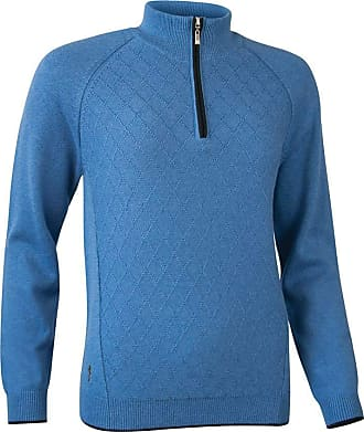 Glenmuir Ladies LKC2621ZN Zip Neck Argyle Stitch Touch of Cashmere Golf Sweater Tahiti Marl/Black L