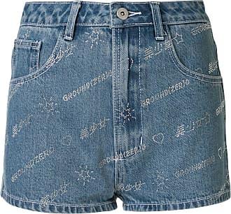 Ground-Zero Short jeans com logo em aplicações - Azul