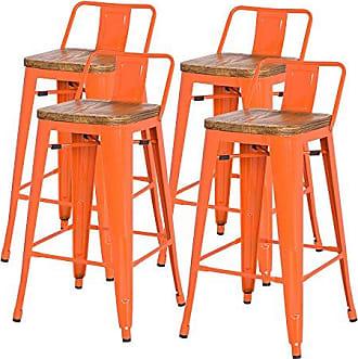 New Pacific Direct Metropolis Metal Low Back Bar Stool 30 Wood Seat,Indoor/Outdoor Ready,Orange,Set of 4