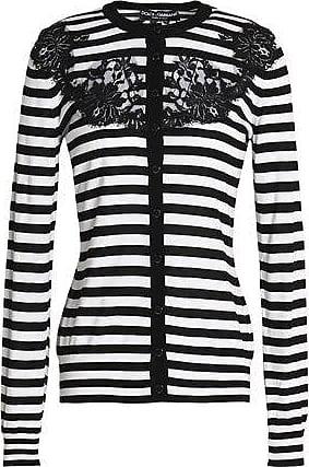 5abf506fb3 Dolce   Gabbana Dolce   Gabbana Woman Lace-paneled Striped Silk Cardigan  Black ...