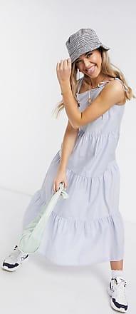 Pieces Blaues Maxi-Sommerkleid mit Stufenrock