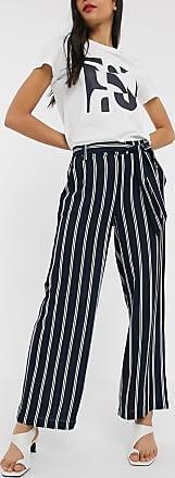 Only Pantalones palazzo con cintura anudada y rayas Winner de Only-Azul marino