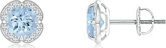 Angara Valentine Day Sale - Claw-Set Aquamarine Clover Stud Earrings