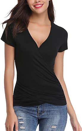 Abollria Womens Summer Wrap Top V-Neck Short Sleeve Slim Fit Casual Tee Shirt Blouse Black