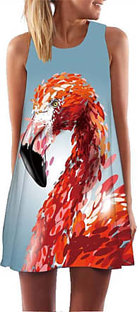 Ocean Plus Womens Summer Casual Top Flamingo A-Line Sleeveless Dresses Leaves Cover-up Western Without Sleeves Beach Dress Party Dress (XL (EU 40-42), Feather Fl