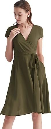 LilySilk Silk Wrap Dress for Women V Neck with Belt Pockets Figure Flattering (Olive Green, XXL)