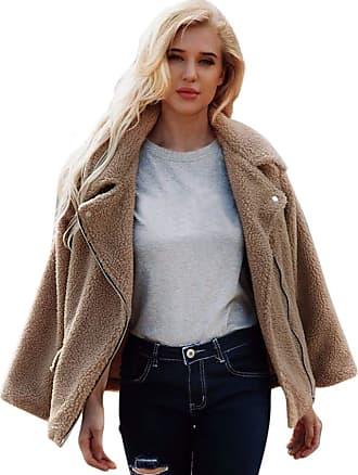 JERFER Womens Ladies Warm Coat Zipper Jacket Winter Parka Outerwear Autumn Winter Coat Khaki