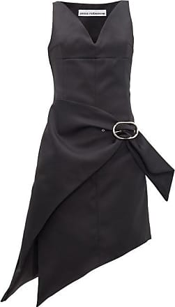 Paco Rabanne Asymmetric Buckled Satin Dress - Womens - Black